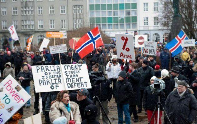 Vista general de una protesta en