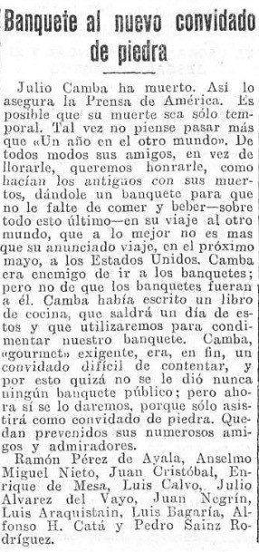 El homenaje por la muerte de Julio Camba al que acudió Julio