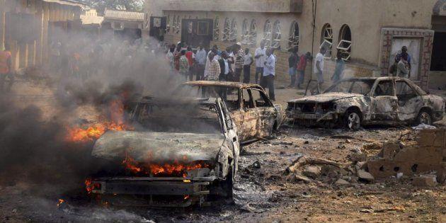 Escenario de un atentado de Boko Haram en Madalla, Nigeria, en