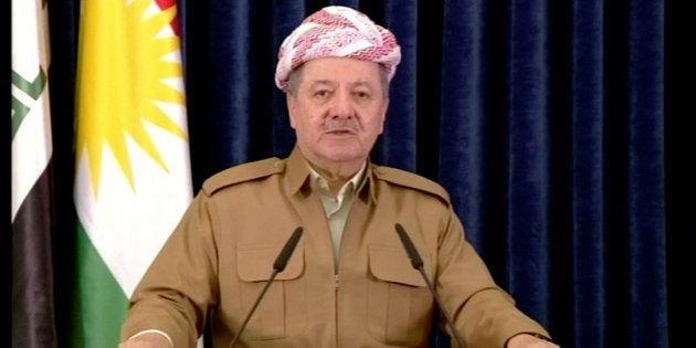 Masoud Barzani, el presidente del Kurdistán iraquí, anoche durante una intervención