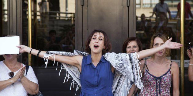 Juana Rivas, el pasado agosto en los juzgados de Granada, tras quedar en libertad por orden del