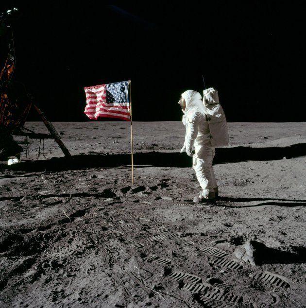 Buzz Aldrin durante el alunizaje del Apollo XI el 20 de julio de