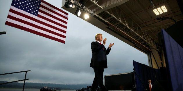 Donald Trump llega a Harrisburg, Pennsylvania, el pasado día 11 de octubre, para celebrar un acto sobre