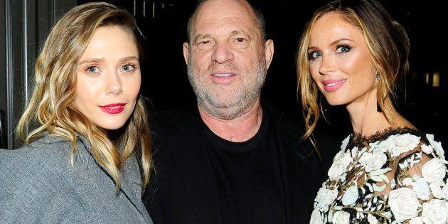 Elizabeth Olsen, Harvey Weinstein y Georgina Chapman, en agosto de
