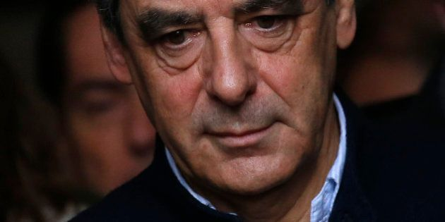 French politician Francois Fillon, member of the conservative Les Republicains political party, leaves...