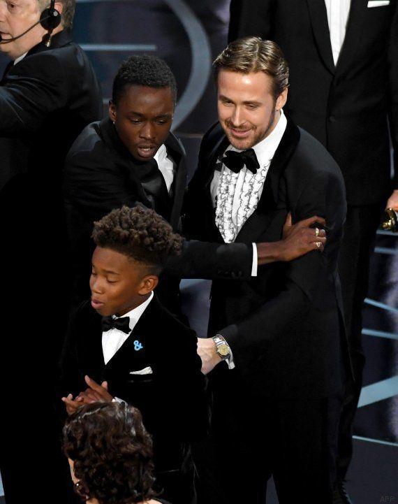 Las caras de Ryan Gosling y Emma Stone tras la pifia de los