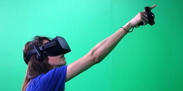 Las gafas de Oculus en la conferencia de desarrolladores de Facebook F8 Developer celebrada el 18 de...