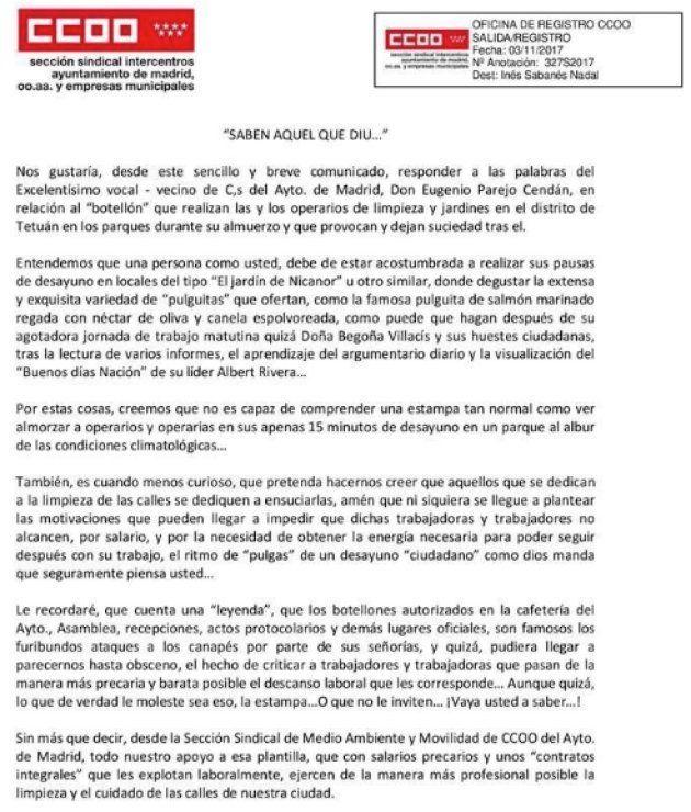 La aplaudida respuesta de CCOO a esta queja de un concejal de Ciudadanos en