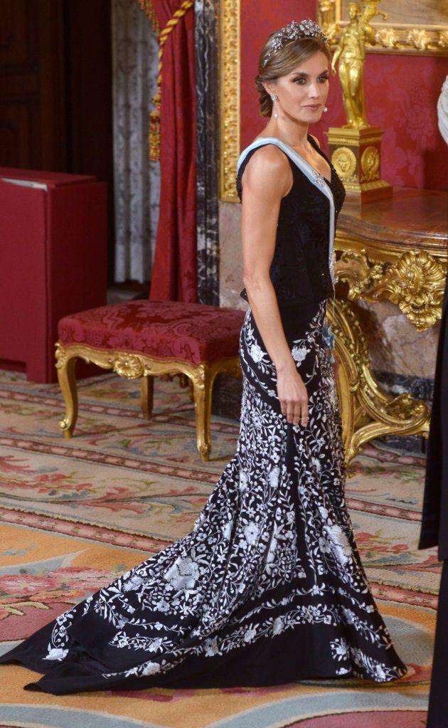 La reina Letizia en la cena con el presidente de Israel, Reuven Rivlin, y su esposa, Nechama Rivlin,...
