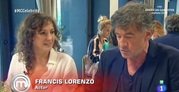 El actor Francis Lorenzo junto a la actriz Marta Belaustegui en el programa 5 de 'Masterchef