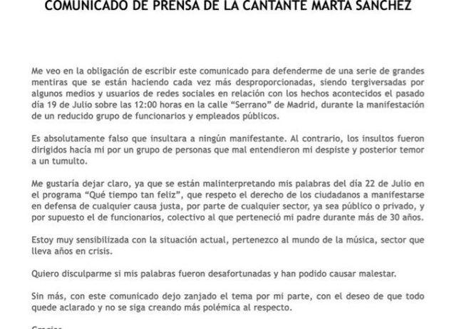 Polémica tras una manifestación de funcionarios: Marta Sánchez responde a las críticas