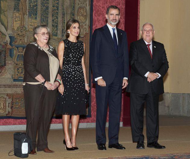 Los reyes Felipe y Letizia en la recepción al presidente de Israel, Reuven Rivlin, y su esposa, Nechama