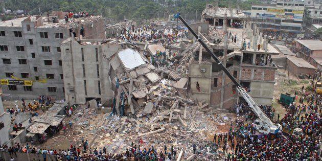 Imagen del edificio Rana Plaza de Bangladesh, que se derrumbó en 2013 provocando 1.243