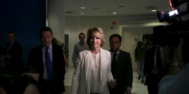 Esperanza Aguirre, tras anunciar su