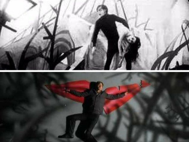 Arriba: Fotograma de 'El gabinete del Doctor Caligari' (1920). Abajo: Videoclip de 'Otherside' de Red...
