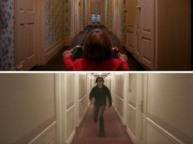 Arriba: Fotograma de 'El resplandor' (1980). Abajo: Videoclip de 'The kill' de 30 Seconds to Mars
