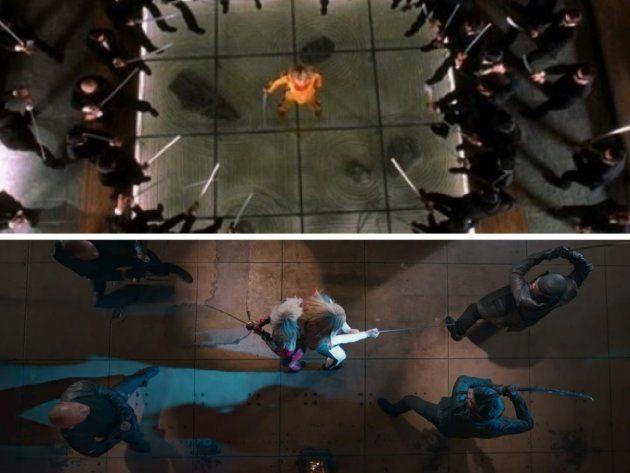 Arriba: Fotograma de 'Kill Bill Vol.1' (2003). Abajo: Videoclip de 'Black Widow' de Iggy Azalea ft. Rita...
