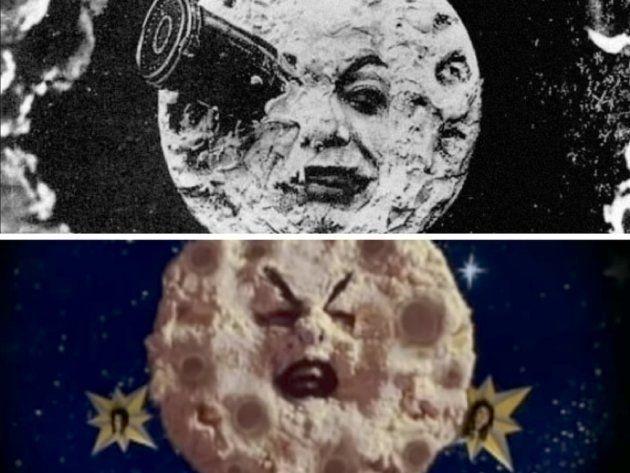 Arriba: Fotograma de 'Viaje a la luna' (1902). Abajo: Videoclip de 'Tonight, tonight' de Smashing Pumpkins