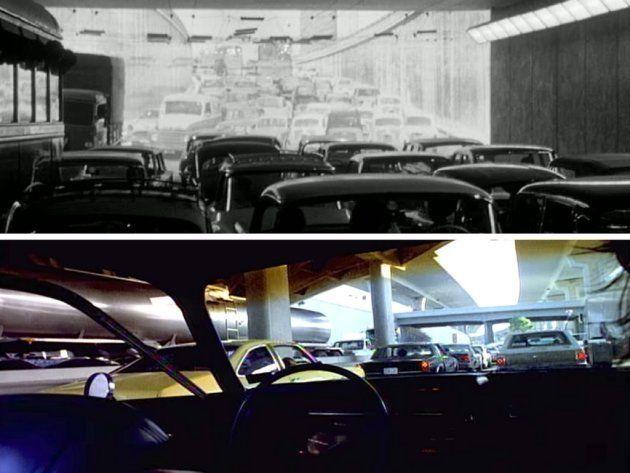 Arriba: Fotograma de '8½' (1963). Abajo: Videoclip de 'Everybody hurts' de Jennifer López