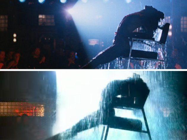 Arriba: Fotograma de 'Flashdance' (1983). Abajo: Videoclip de 'I'm glad' de Jennifer López