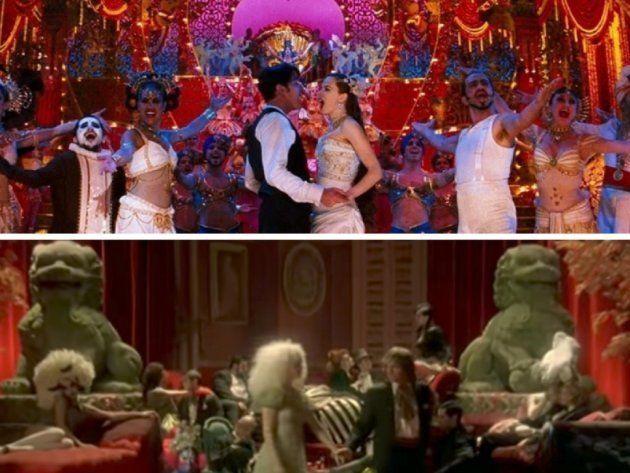 Arriba: Fotograma de 'Moulin Rouge' (2001). Abajo: Videoclip de 'Mr. Brightside' de The Killers