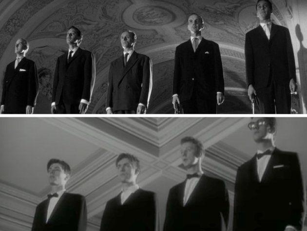 Arriba: Fotograma de 'Last year at Marienbad' (1961). Abajo: Videoclip de 'To the end' de Blur
