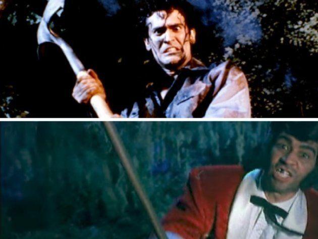 Arriba: Fotograma de 'Posesión infernal' (1981). Abajo: Videoclip de 'Everlong' de Foo Fighters