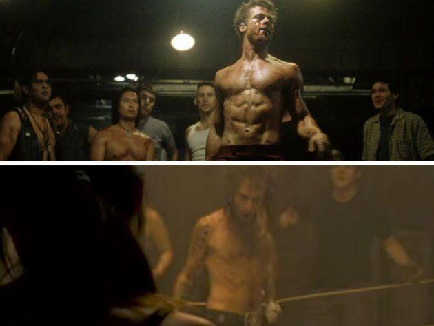 Arriba: Fotograma de 'El club de la lucha' (1999). Abajo: Videoclip de 'Aproximaciones' de Pereza