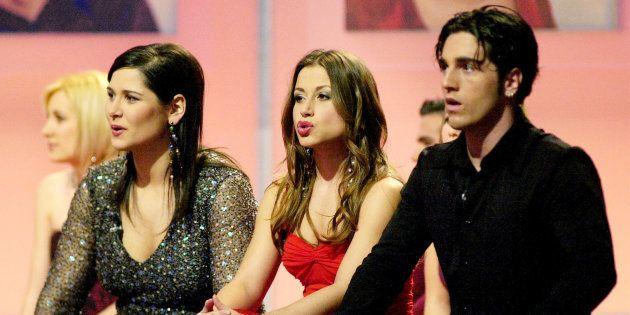 Rosa, Verónica y David Bustamante, durante una de las galas de la primera edición de 'Operación