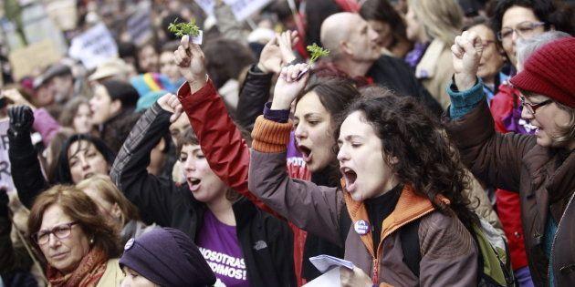 Marcha en Madrid contra la reforma de la ley del aborto promovida por el PP, en febrero de