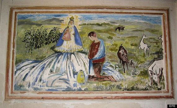 Ecce Homo: Monegros también tiene una mala restauración de un ángel y una virgen en Sariñena (Huesca)