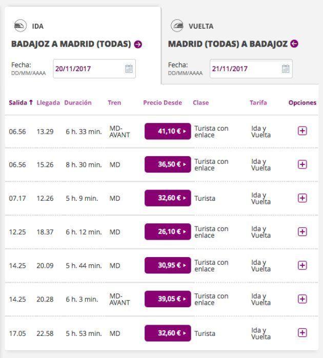 Horarios de salida y precios del Badajoz-Madrid del lunes