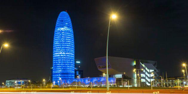 La Torre Agbar de Barcelona. (Photo by Xavi Torrent/Getty Images for Autism