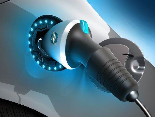 Closeup of an electric car plug while recharging. High quality 3D rendering.Similar