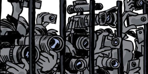 Viñeta por la libertad de prensa de Ferrán Martín, para Reporteros Sin