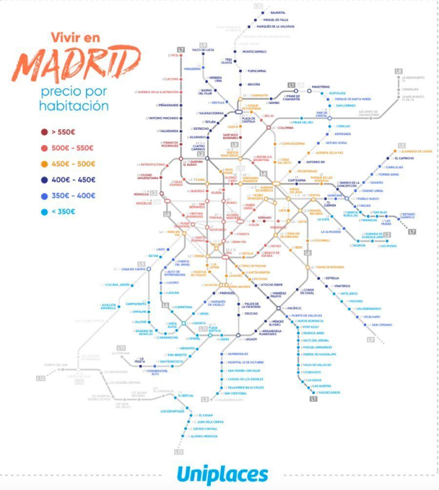 El mapa de metro más útil que verás si buscas piso en Madrid o