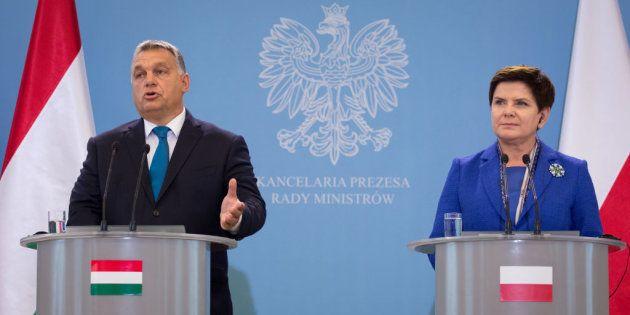 Los primeros ministros de Polonia, Beata Szydlo, y Hungría, Viktor