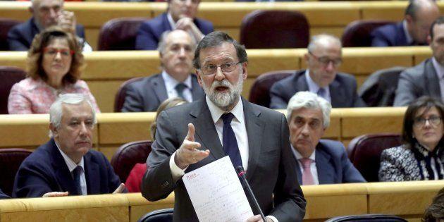 El presidente del Gobierno, Mariano Rajoy, en el pleno en el Senado. EFE/Kiko
