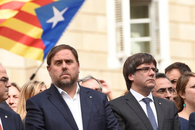 Politics Carles Puigdemont,Oriol Junqueras in on act agianst the violence of police during 1-0 referendum...