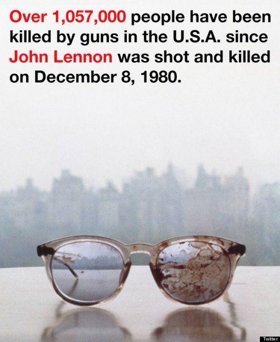 Yoko Ono tuitea una foto de las gafas de John Lennon para protestar contra el uso de armas