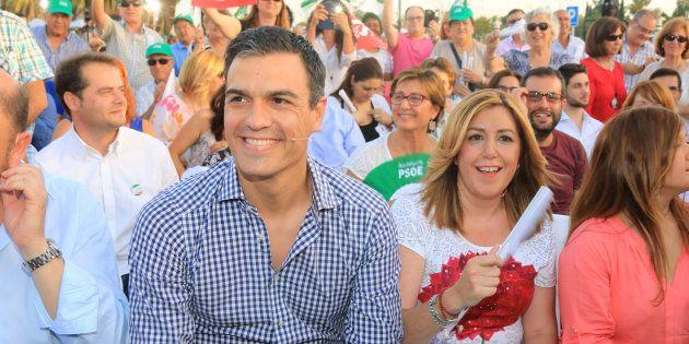 Pedro Sánchez y Susana Díaz, durante un mitin en