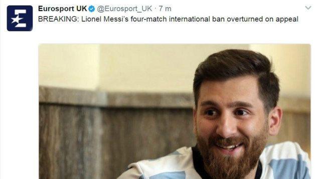 Eurosport ilustra una noticia sobre Messi con la foto del doble iraní del