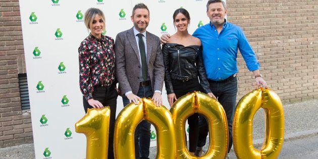 Los presentadores Anna Simon, Frank Blanco , Cristina Pedroche y Miki Nadal durante la presentación de...