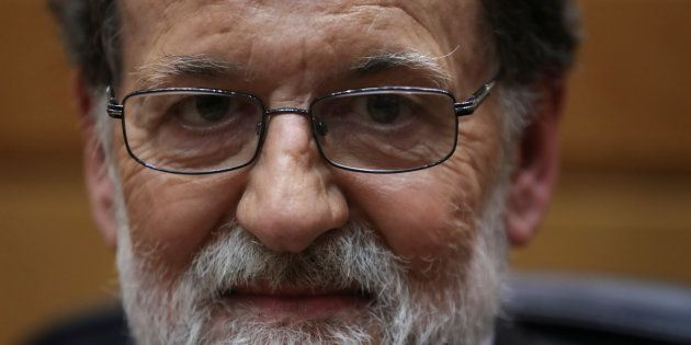 Spain's Prime Minister Mariano Rajoy reacts during a debate at the upper house Senate in Madrid, Spain,...
