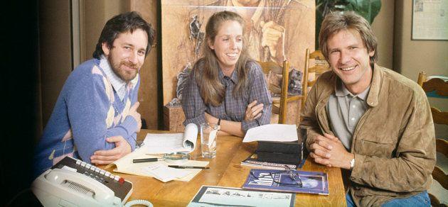 Spielberg, Mathison y Harrison Ford durante el rodaje de Indiana