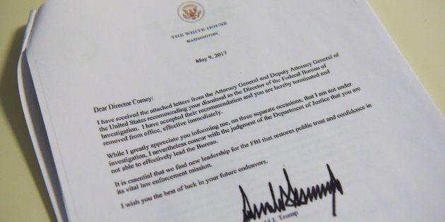 La carta de despido enviada por Trump a James