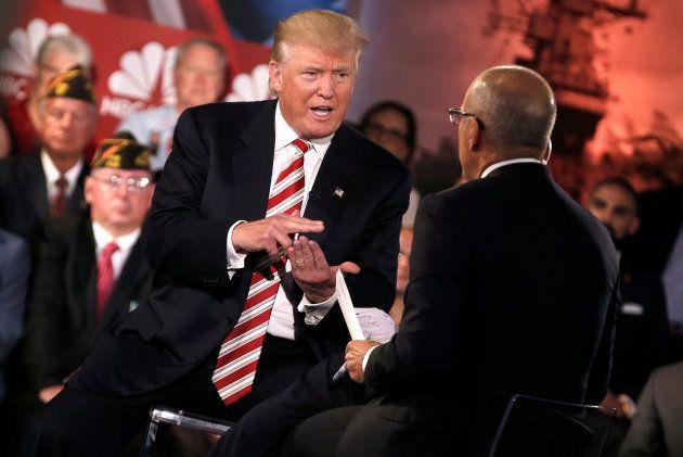 Donald Trump es entrevistado por Matt Lauer en septiembre de 2016 en Nueva