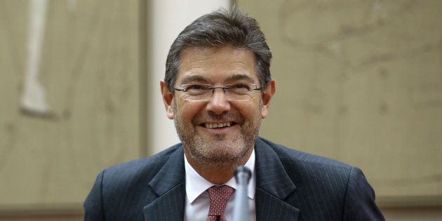 MADRID, 10/05/2017.- El ministro de Justicia, Rafael Catalá, momentos antes de comparecer hoy ante la...
