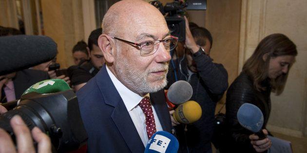El fiscal general del Estado, José Manuel Maza, ayer llegando a unas conferencias en