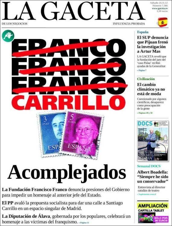 'La Gaceta' indigna a los internautas por su portada sobre Franco